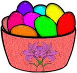 bowl of colored Easter eggs