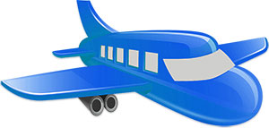 commercial airplane blue