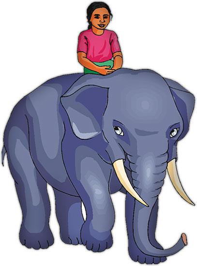 elephant carrying girl