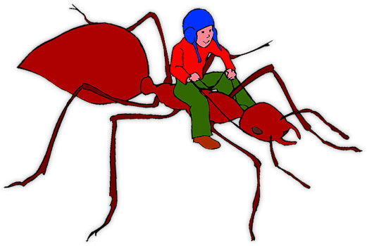 boy riding a large ant
