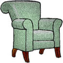 armchair green with dark wood legs