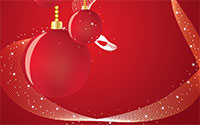 red Christmas background with ornaments