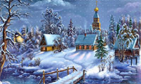 Christmas winter scene with snow