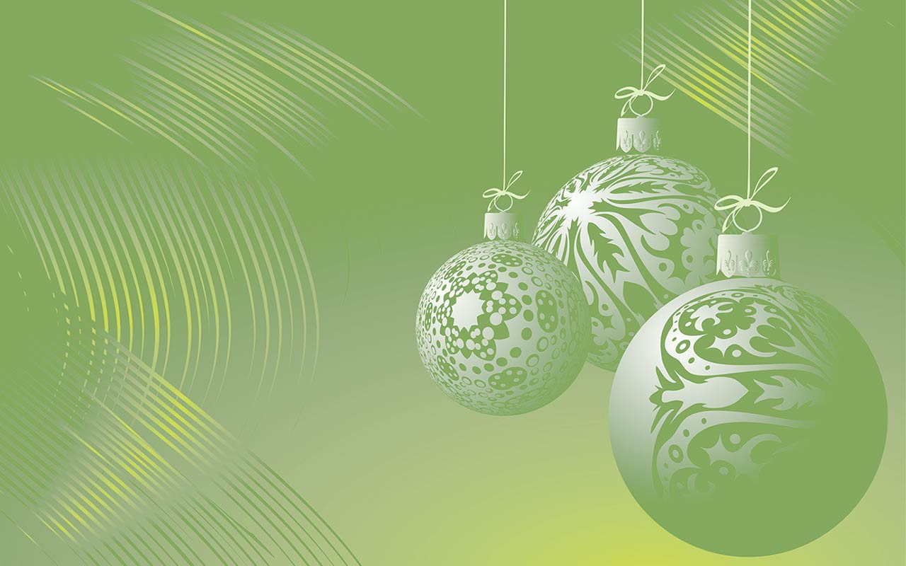 green christmas ornament background
