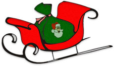 Christmas sleigh with sack of toys