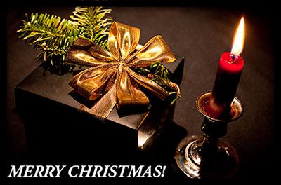 christmas candle and present