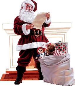 Santa delivering presents in a home