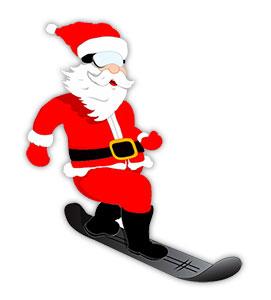 Santa and snowboard