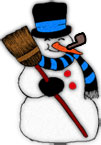 snowman with broom and carrot nose
