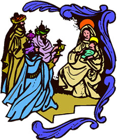 three wisemen at the nativity