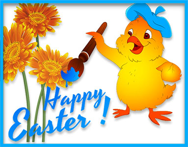 Happy Easter chick flowers