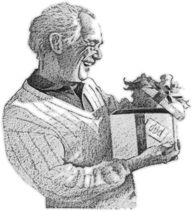dad with gift - clipart