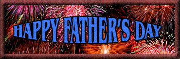 happy father's day with frame and fireworks