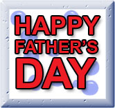 happy father's day red on blue and white word art