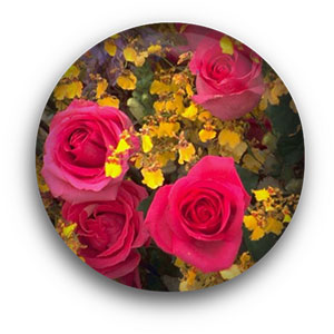 yellow flowers and red roses