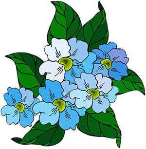 light blue flowers on green