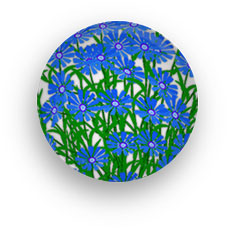 button made of blue flowers round