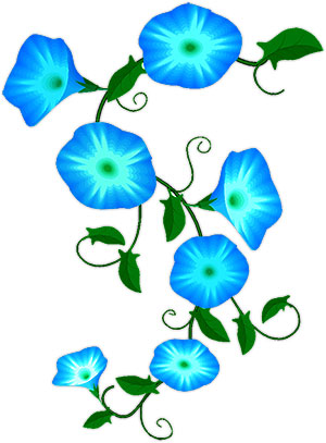 blue flowers on a green vine