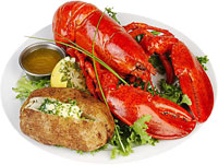 lobster with baked potato and butter