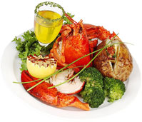 lobster dinner with vegetables