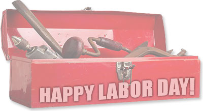 tool box with Happy Labor Day