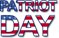 the words Patriot Day in the colors of the American Flag