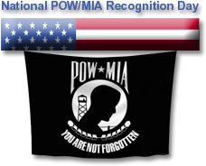 pow-mia hanging flag from American flag bar