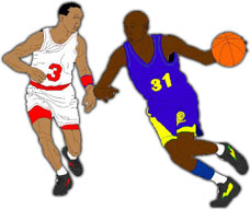 2 players with basketball