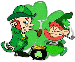 leprechauns smoking pipes