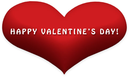 Happy Valentine's Day on red heart