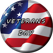 Veterans Day button on American flag
