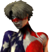 woman in red white and blue body paint