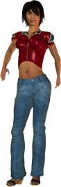 woman with black hair in blue jeans png transparent file